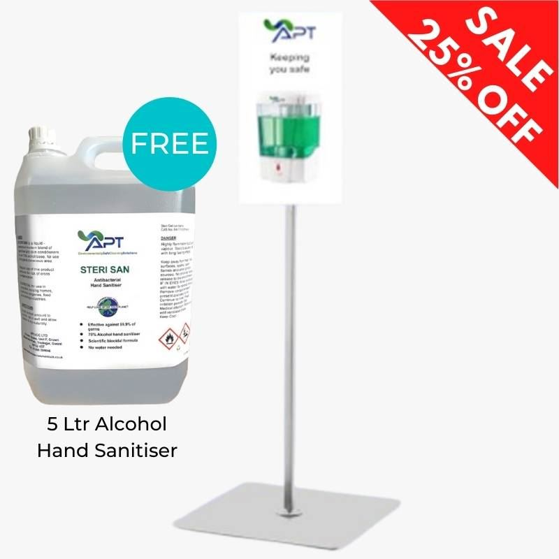 Picture of Hand Sanitising Station UK plus FREE 5 Ltr Steri San Alcohol Hand Sanitiser